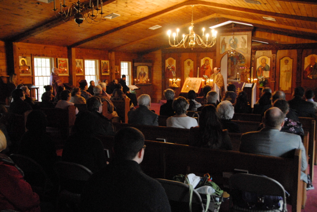 Fr. Chad offers a rousing sermon following the completion of Vespers.