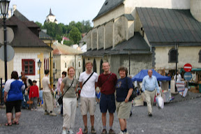 WIth Anna, Glenn, and Eva in Market, Bansky Stiavnica town square