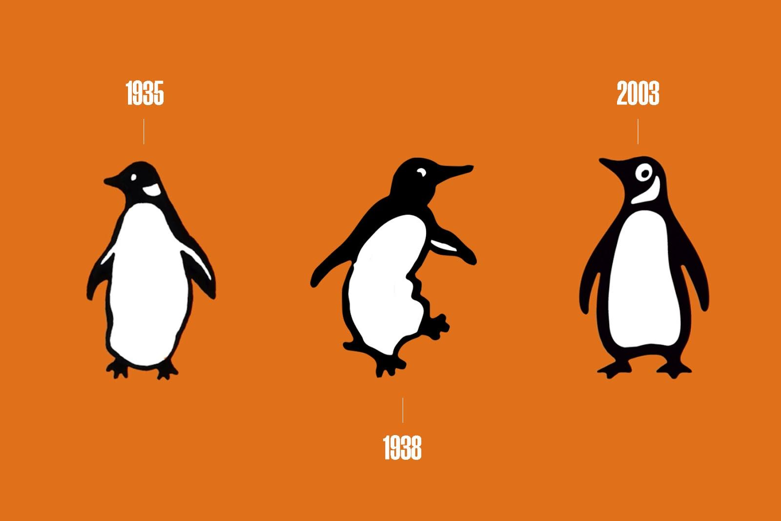 Three of the penguins from the Penguin Books logo, one from 1935, one from 1938 and one from 2003, on an orange background.