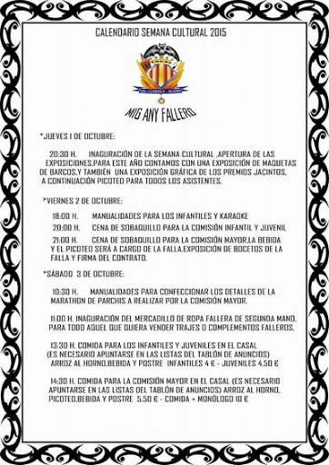 Semana Cultural y Mig Any Fallero en Jacinto Labaila 1 al 4/10