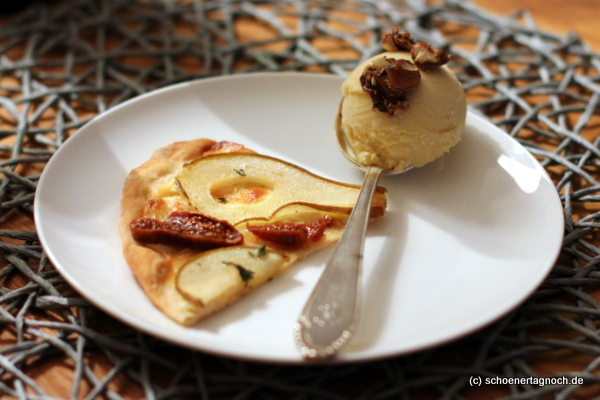Dessert für die #heelskitchen: Süßer Flammkuchen mit Roquefort-Honig-Eis [Oster-Menü]