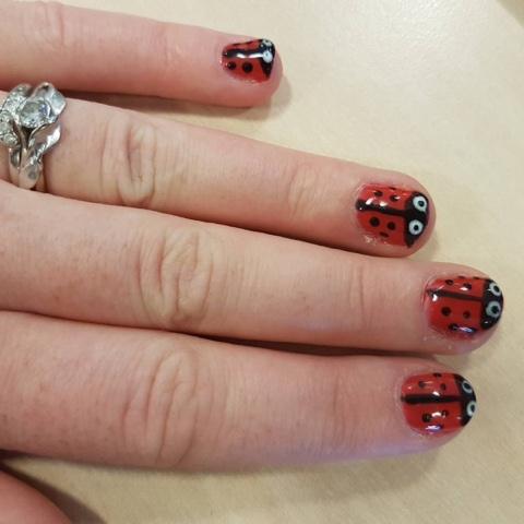 Lady Bird Nail Art Design Using Sensationail Polish