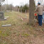 Owen Gleaves and George Wilkerson work on the new fence to make sure it is straight Gleaves - Clements Cemetery Hermitage, Tennessee