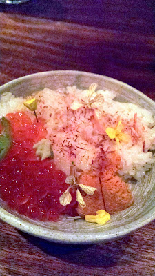 Nodoguro Pop-up Course 7: Sasanishiki rice with soy cured salmon roe, wasabi with greens
