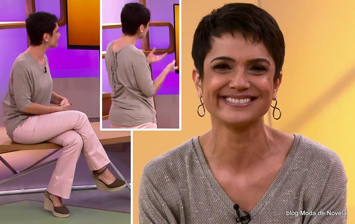 moda do programa Como Será? - look da Sandra Annenberg dia 30 de agosto