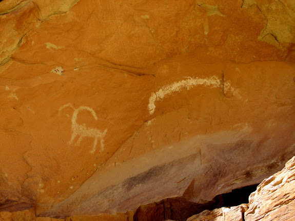 White sheep and crescent pictographs