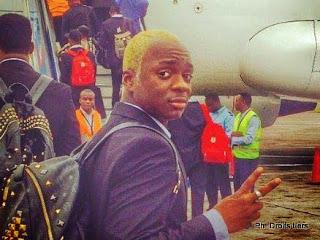Neeskens Kebano, international congolais au départ de l'aéroport de N'djili pour le match RDC-Côte d'Ivoire du 15/10/2014