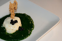 spinach, egg and caviar