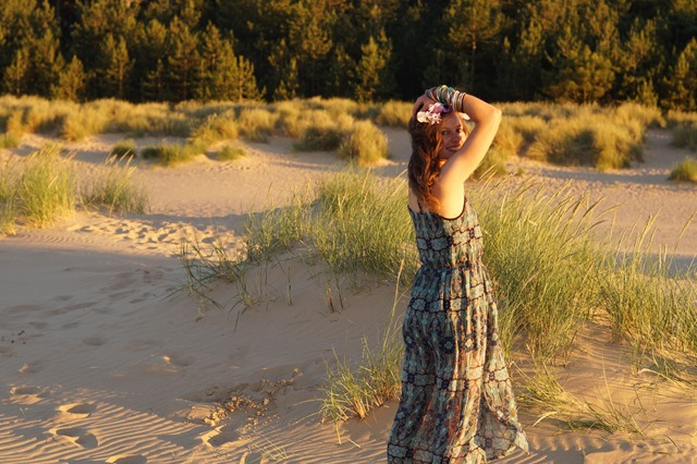 sheer dress on the beach at sunset