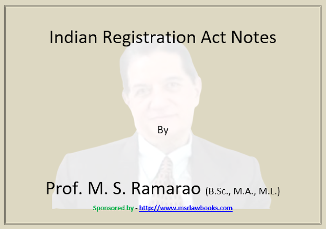 Indian Registration Act Notes | Sponsored by MSR Law Books
