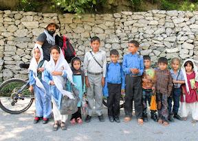 With local school kids near Chilaina