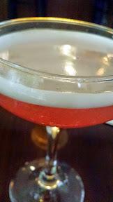 Barlow Artisanal Bar Cocktail of the Clover Club with gin, lemon, creme yvette, maraschino luxardo, raspberry simple, egg white