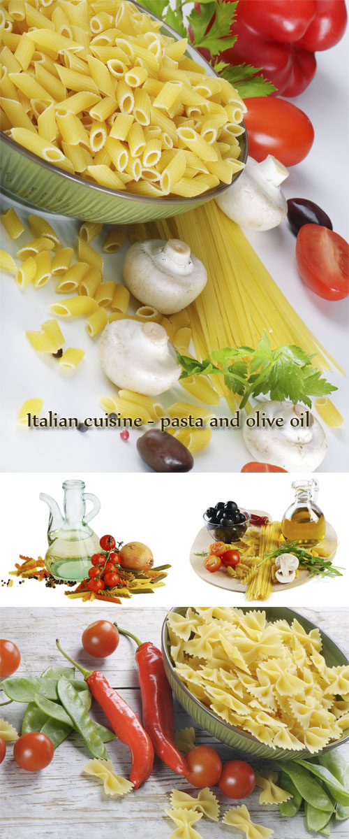 Stock Photo: Italian cuisine - pasta and olive oil