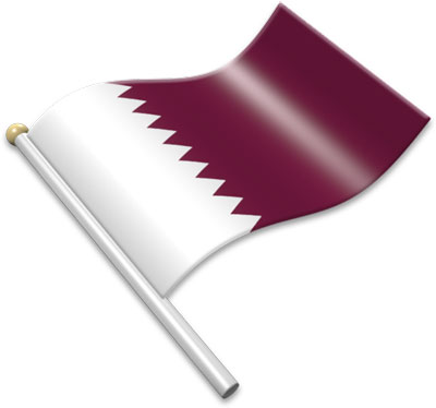 The Qatari flag on a flagpole clipart image