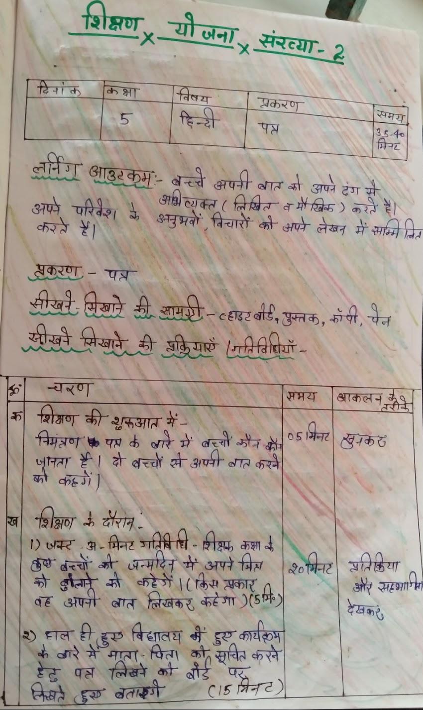 शिक्षण योजना हिन्दी टीचिंग प्लान