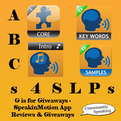 ABCs 4 SLPs: G is for Giveaways - SpeakinMotion Application Reviews and Giveaways image