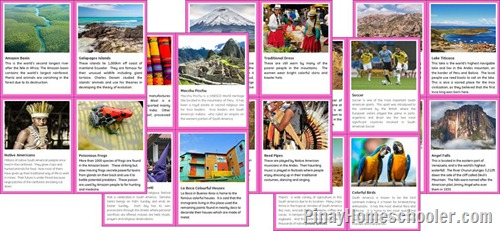 South America Continent Fact Cards