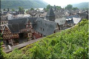 Casas de Bacharach desde los viñedos