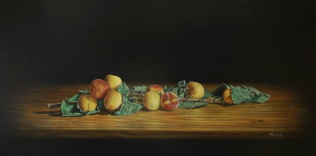 Rama de albaricoques,pintura al óleo de Pedro Vergara