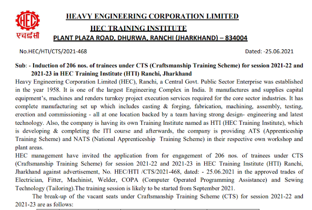 HEC Recruitment - 206 Trainees - Last Date: 31st July 2021