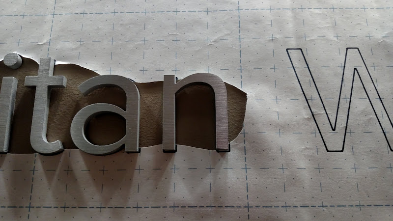 letters installed with paper pattern