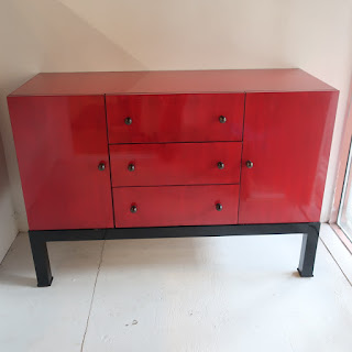 Red and Black Buffet Cabinet
