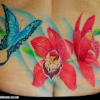 Blue butterfly lower back - tattoos for men