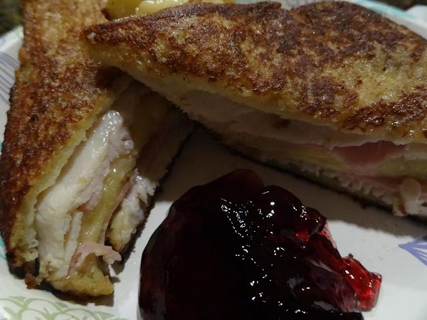 Serve with grape jelly, raspberry jelly, and vanilla sauce.