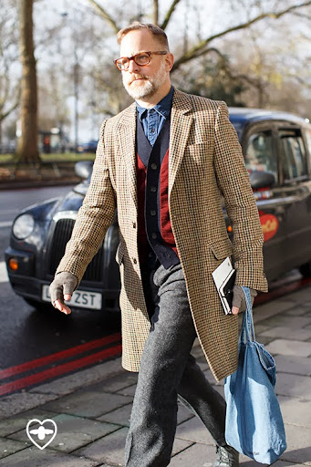 Bruce Pask; fashion director; vintage galsses; Ami coat; Jil Sander cardy; JCrew trousers; Save Khaki gloves; Common Projects shoes;