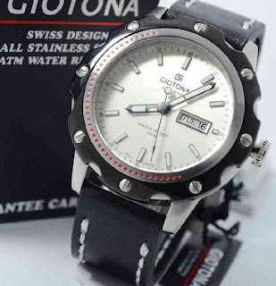 jam tangan Giotona GT6045 black leather ring black silverwhite