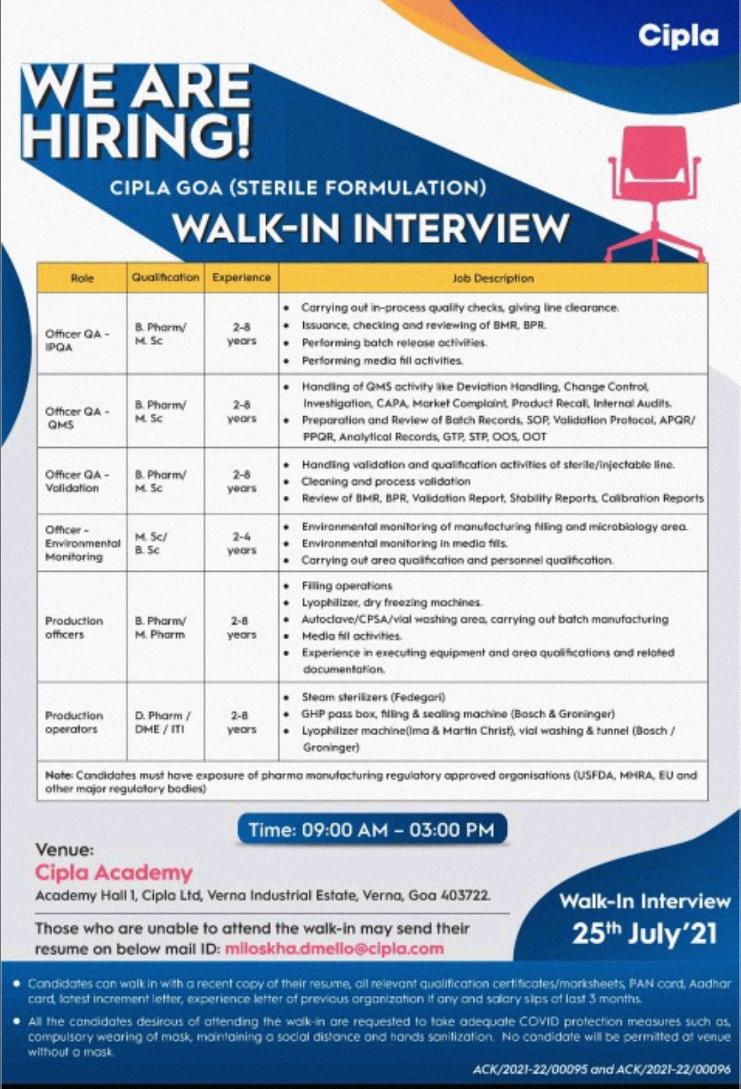 Walk-in By Cipla For Production, QA, Engineering Department