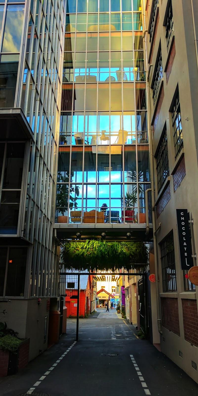 Looking down Leeds Street towards Dixon Street (Wellington, New Zealand)