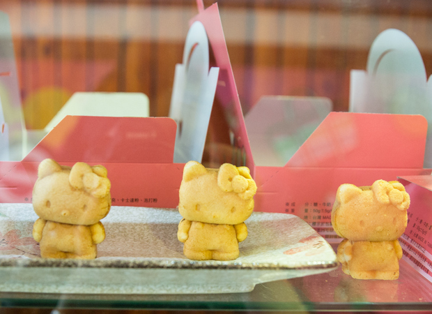 photo of hello kitty shaped pastries in a display case