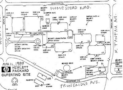 Apr. 1989 site map faxed from Hewlett-Packard Cupertino site to visitors
