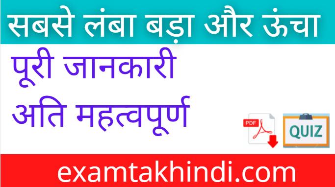 World's Largest, Smallest, Highest In Hindi Full Detail