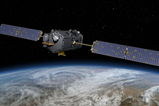 An artist's rendering of NASA's Orbiting Carbon Observatory (OCO)-2. Graphic: NASA / JPL-Caltech