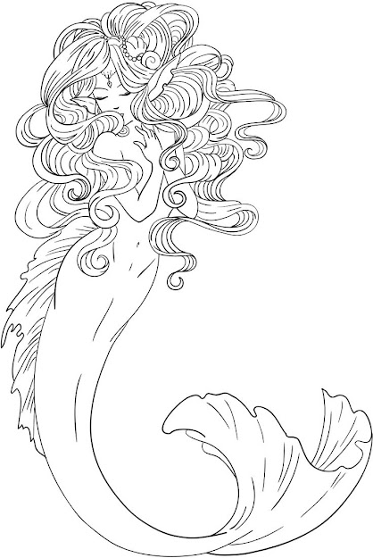 Shyni Moonlightings Freebie Mermaid Colouring Page