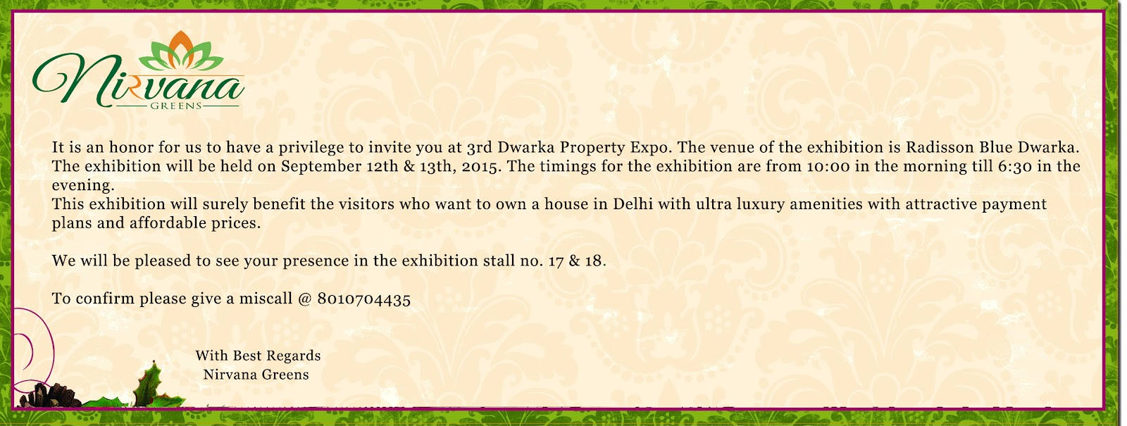 Invitation for 3rd largest property expo in radisson blue dwarka nirvana greens stopboris Choice Image