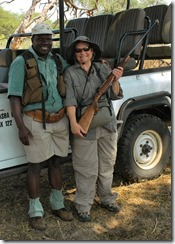 "Marcia ""borrowed"" the rifle from one of our guides from the Linkwasha Camp"
