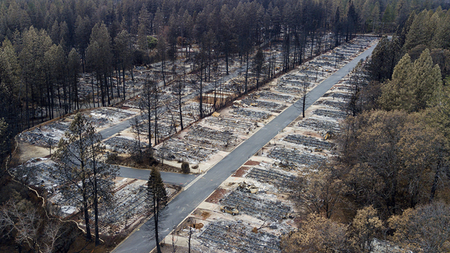 The Camp Fire leveled homes in the Ridgewood Mobile Home Park retirement community late last year in Paradise, California. The state's largest utility, PG&E, may face billions in liability costs if its equipment is found to be responsible for igniting the fire. Photo: Noah Berger / AP
