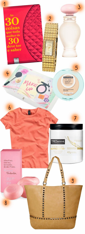 wishlist aniversário de 30 anos - produtos femininos para presente