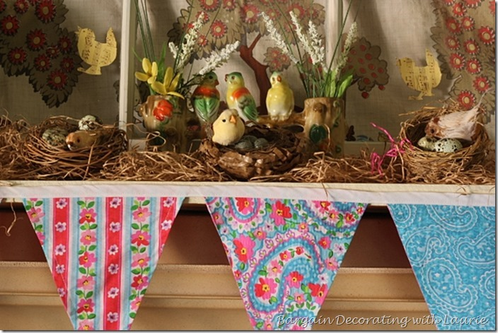 Spring Mantel Decor-Bargain Decorating with Laurie