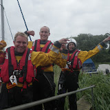8 June 2012: Crew Members James Kilburn, Rob Inett and Mark Ponchaud triumphant after their first shout wearing the new lifejackets!