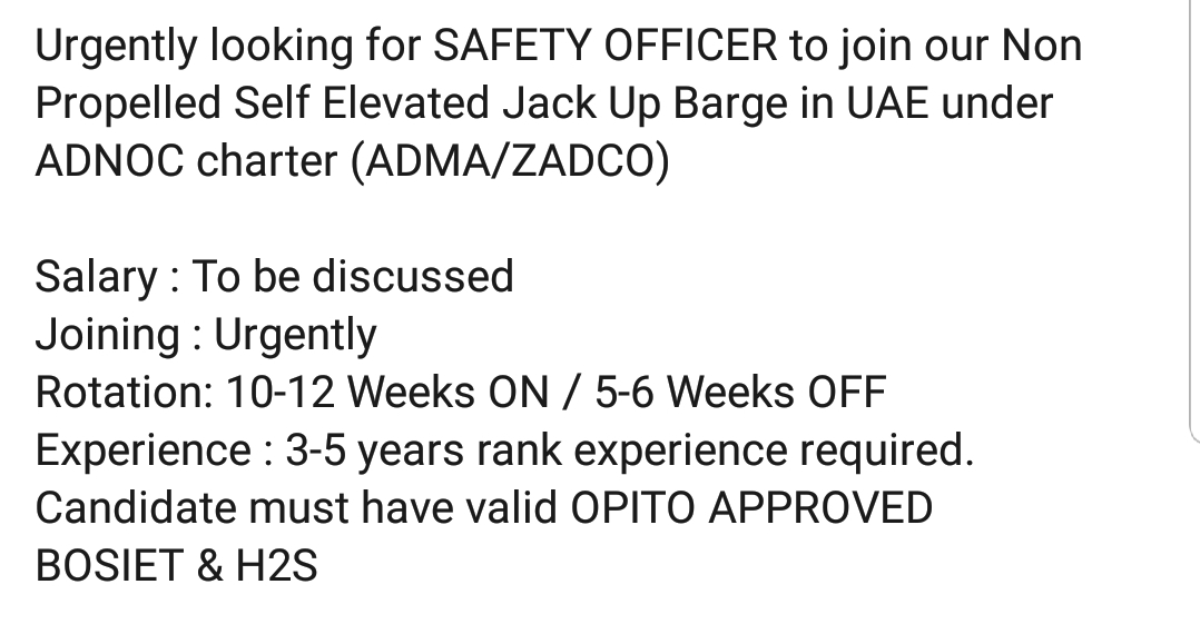 Oil and Gas Jobs: Safety Officer