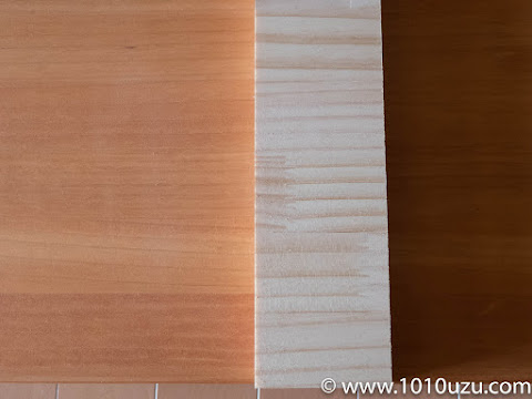 柿渋塗装を無塗装の端材と比較