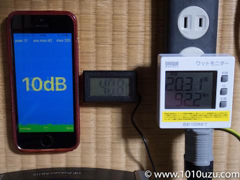 フタを閉めた状態のPWMあり4cmファン:10dB 40.8℃92.2W