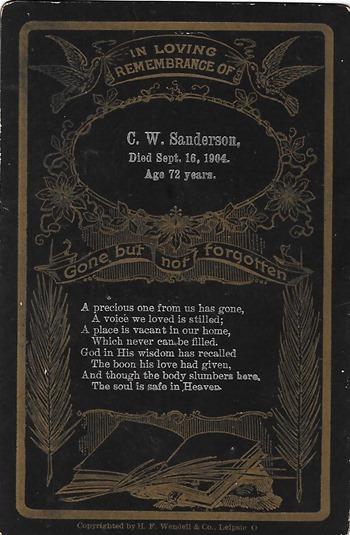 Sanderson Funeral Card Wadenda Flea