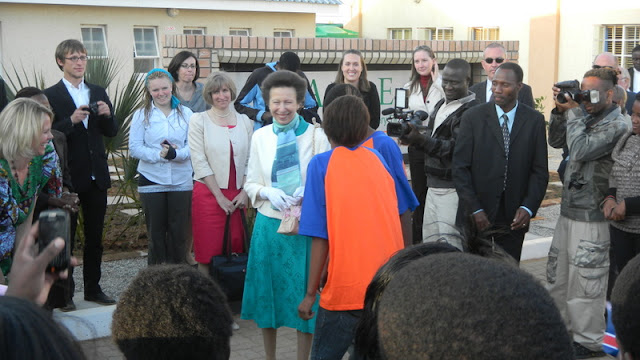 Princess Ann receiving her gift from Stepping Stones