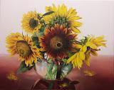 słoneczniki, olej, płótno, 40 x 50 cm, własność prywatna