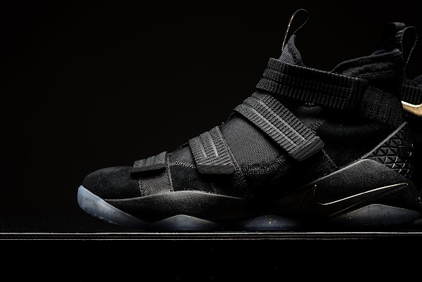 online store 8c48f f4b96 ... Detailed Look at Nike LeBron Soldier 11 Black and Gold ...
